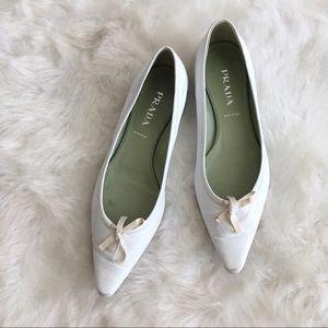 Vintage Prada White Pointed Bow Flats